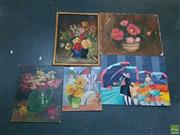 Sale 8582 - Lot 2109 - 5 Various Still Life Acrylics