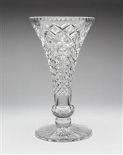 Sale 8660A - Lot 99 - A large Art Deco hand cut lead crystal trumpet vase, c. 1930s, H 30cm