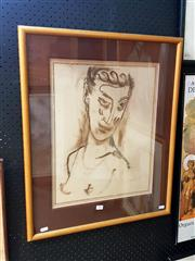 Sale 8678 - Lot 2030 - Artist Unknown - Portrait, pastel on paper, 67.5 x 56 (frame size), signed lower right