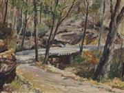 Sale 8867 - Lot 504 - John Cornwell (1930-) - Children Fishing on a Bridge 45 x 59.5 cm