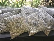 Sale 8904H - Lot 24 - Eight cushion covers in various sizes featuring a grey dandelion print on beige background.