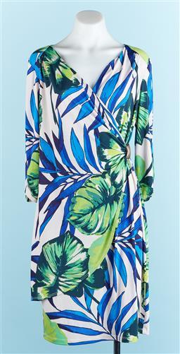 Sale 9091F - Lot 72 - A JOSEPH RIBKOFF SPANDEX/NYLON DRESS; with leaf design, size M/L