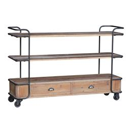 Sale 9250T - Lot 21 - A reclaimed timber portable cart with iron frame and wheels. Height 95cm x Width 145cm x Depth 40cm