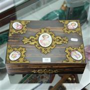 Sale 8362 - Lot 88 - Victorian Coromandel & Porcelain Mounted Box (some faults)