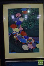 Sale 8497 - Lot 2020 - Artist Unknown (Japanese School), Umbrellas, screenprint, 76.5 x 52.5cm, signed and inscribed upper left