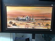 Sale 8807 - Lot 2103 - Phil Porter - Rural Cottage, 1979 acrylic on board 45 x 90.5cm signed
