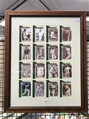 Sale 8863S - Lot 44 - Sir Donald Bradmans Greatest Hits. Sixteen cards, with one signed, and neatly framed to reveal reverse as well.