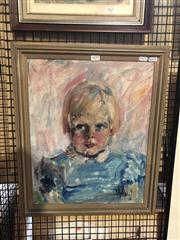 Sale 8824 - Lot 2029 - Louise Cornwell - Portrait of a Girl, frame size: 56 x 46cm
