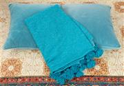 Sale 9066H - Lot 192 - A blue Moroccan blanket, together with a pair of blue velvet cushions.