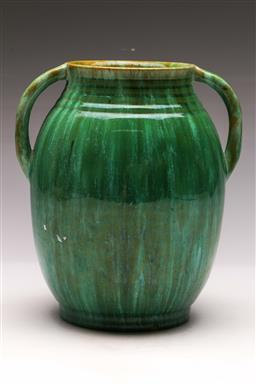 Sale 9122 - Lot 6 - A Signed John Campbell Green Glaze Twin Handle Vase (H:21cm)