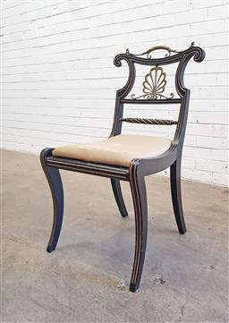Sale 9126 - Lot 1062 - Regency Ebonised Chair, mounted with brass handle and anthemion scroll, rope twist rail & drop-in seat over caned seat, raised on sa...