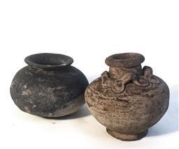 Sale 9142A - Lot 5091 - Cambodian Earthenware Pots, Ankgor period C11th, h.8 x w10cm (black); h9cm x w9 cm (brown)