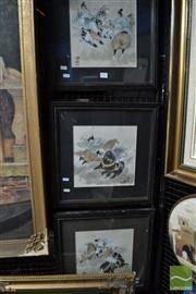 Sale 8471 - Lot 2089 - Group of (3) Chinese Watercolours by an Unknown Artist, frame size 43.5 x 43.5cm