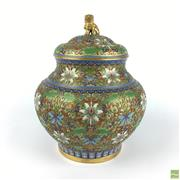 Sale 8589R - Lot 10 - Cloissone Lidded Container with a Foo Dog Finial (H: 24cm)