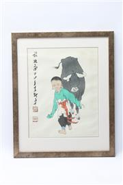 Sale 8673 - Lot 53 - Boy With Buffalo Artist Seal And Inscription
