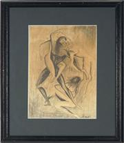 Sale 8789 - Lot 2095 - Artist Unknown Entwined pencil drawing, 29 x 19cm, signed lower right -