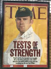 Sale 8863S - Lot 45 - Mark Taylor, on Time Magazine cover banner, signed and framed.