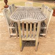 Sale 8871H - Lot 46 - A Hyde Park teak nine piece outdoor setting, 240 x 110cm