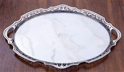 Sale 9190H - Lot 92 - A large antique English silverplate double handled tray, Martin Hall & Co, C: 1900, the rim pierced with scrolling foliates. 57cm x...