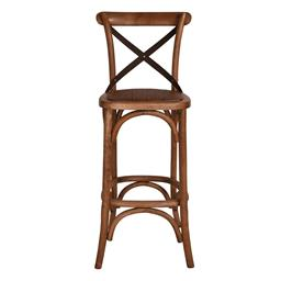 Sale 9250T - Lot 23 - A set of 2 solid oak cross back bar stools with aged textured dark metal straps. Height 110cm x Width 45cm x Depth 45cm