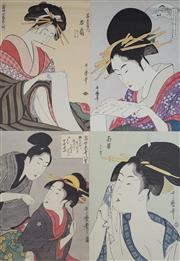 Sale 8492A - Lot 5099 - Utamaro Kitagawa (1753 - 1806) (5 works) - Set of (5) Bijin-Ga 47 x 30cm, each