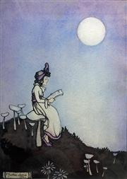 Sale 8655A - Lot 5014 - Ethel Jackson Morris (1891 - 1985) - Girl Seated on Toadstool Reading by Moonlight, 1916 18.5 x 13cm
