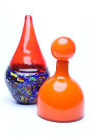 Sale 8719 - Lot 2 - A West Elm orange bottle vase together with a studio tear drop vase in red with a blue and yellow abstract base, Height of taller 35cm