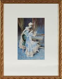 Sale 8735 - Lot 7 - Artist Unknown, 19th Century Continental School, The Necklace, watercolour 30cm x 19.5cm