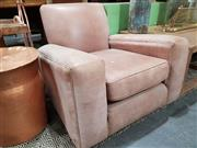 Sale 8740 - Lot 1050 - Pair of Worn Leather Club Chairs