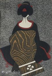 Sale 8870A - Lot 587 - Kiyoshi Saito (1907 - 1997) - Portrait of a Geisha 38.5 x 25 cm
