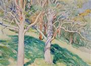 Sale 9001 - Lot 505 - Tempe Manning (1893 - 1960) - Wooded Hillside, 1958 26.5 x 36.5 cm (frame: 56 x 63 x 3 cm)