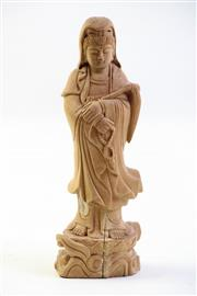 Sale 8997A - Lot 625 - Chinese boxwood figure of Guanyin, crack to pedestal (H17.5cm)