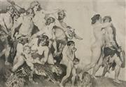 Sale 9080A - Lot 5023 - Norman Lindsay (1879 - 1969) - Bacchus (The Procession) 25.3 x 37 cm (frame: 64 x 74 cm)