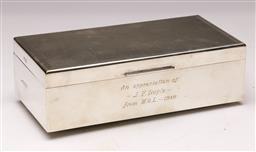 Sale 9122 - Lot 26 - Hallmarked Sterling Silver Cigarette Box (H:6 W:18 D:9cm)
