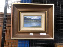 Sale 9147 - Lot 2001 - LEONARD LONG Fitzroy Lagoon, near Fitzroy Falls NSW 1985  oil on canvas on board, 27 x 32 cm, signed and dated -