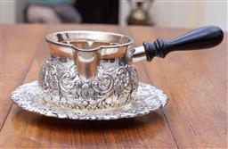 Sale 9190H - Lot 27 - Excellent quality silverplate serving saucepan and matching tray, decorated with deeply embossed scrolling foliates, fitted with a t...