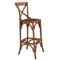 Sale 9250T - Lot 24 - A set of 2 solid oak cross back bar stools with aged textured verdi grey green metal straps. Height 110cm x Width 45cm x Depth 45cm