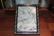 Sale 8308 - Lot 47 - Chinese Silk in a Mother of Pearl Inlaid Rosewood Frame