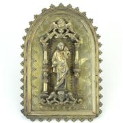 Sale 8372 - Lot 35 - Early Gilt Brass Madonna & Child Blessing Plaque