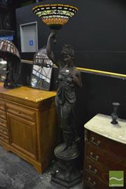 Sale 8361 - Lot 1008 - Lady Figural Base Floor Lamp with Leadlight Up Shade