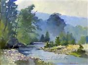 Sale 8563T - Lot 2059 - Harold Scott - Rising Mist, The Tuross River oil on board, 44.5 x 60cm, signed lower right