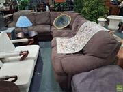 Sale 8601 - Lot 1461 - Large Fabric Upholstered Corner Lounge with Matching Ottoman
