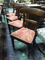 Sale 8634 - Lot 1044A - Set of Four 19th Century Chairs, with rail backs, padded seats & turned legs