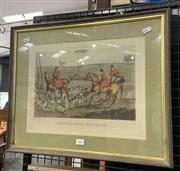 Sale 9050 - Lot 2001 - Henry Allken, Huntig Incidents, hand-coloured engraving, frame: 42 x 52 cm, unsigned