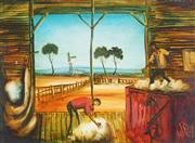 Sale 9067 - Lot 534 - Kevin Charles (Pro) Hart ( 1928 - 2006) - Wool Pressers 43.5 x 58.5 cm (frame: 58 x 72 x 4 cm)