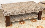 Sale 9066H - Lot 195 - A woven cane coffee table with lower shelf. H 46cm W 120cm D 73cm