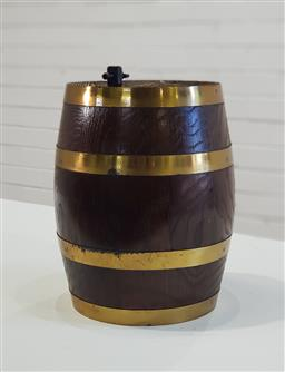 Sale 9154 - Lot 1009 - Brass bound oak port barrel (h:25cm)
