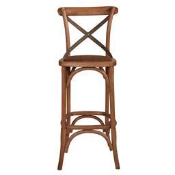 Sale 9250T - Lot 25 - A set of 2 solid oak cross back bar stools with aged textured verdi grey green metal straps. Height 110cm x Width 45cm x Depth 45cm