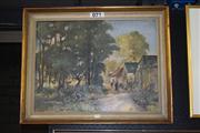 Sale 8375 - Lot 1060 - Village Scene, Oil on Board, signed lower right