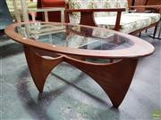 Sale 8566 - Lot 1002 - Oval Atmos G-Plan Coffee Table with Glass Top